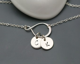 Sterling Silver Infinity Initial Necklace - Personalized Necklace, Infinity Necklace in Sterling Silver