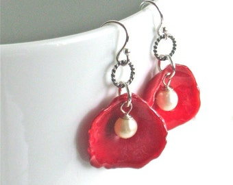 Real Rose Petal Earrings - Red Rose Earrings, Real Flower Jewelry, Floral Jewelry, Nature Jewelry
