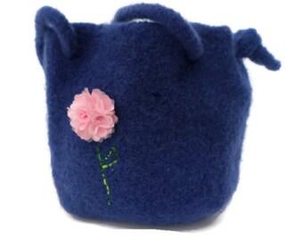 Tote Bag - Felted Blue Denim-Looking Bag with Light Pink Flower
