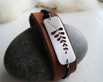 Wisteria  Cutout Leather & Metal Cuff Bracelet