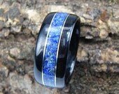Bentwood Ring Ebony with Lapis Lazuli Inlay and Sterling Silver Accents