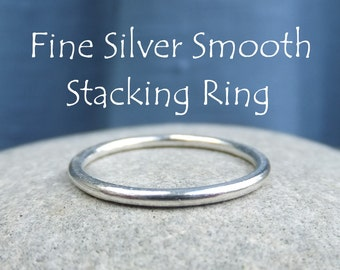 Fine Silver Stacking Ring - SMOOTH - Bright Silver or Oxidised - Shiny Skinny Stacker - Handmade Metalwork Jewelry