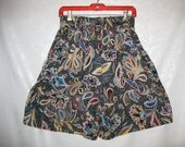 Patterned Paisley Culotte Shorts Size Medium Vintage 80s