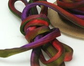 "1/4"" Silk Cord Silk Ribbon Hand Dyed Jungle Bird 3 yds Silk Necklace Cord FC"