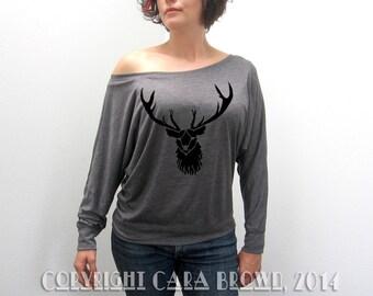 Stag T Shirt Women's Slouchy wiccan Deer  Long Sleeve buck antlers