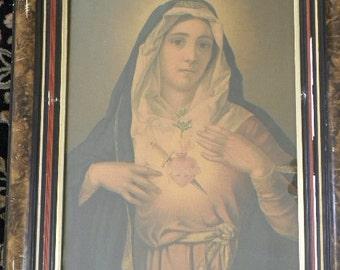 Antique Framed Print of Mary of the Immaculate Heart Religious Icon Christian