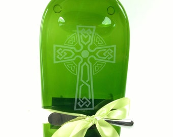 Celtic Cross Etched Melted Wine Bottle Cheese Tray Dark Green by Mitchell Glassworks,Irish Gift, New Home