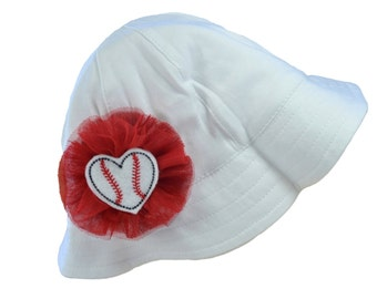 Baseball Sun Hat for Baby with Chin Strap and Tulle Flower by Funny Girl Designs