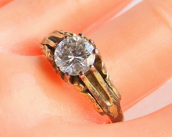 Vintage Art Deco Ring Vintage Faux Diamond Antiqued Goldtone Size 10 3/4