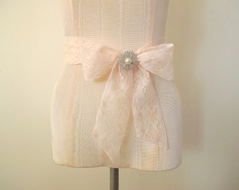 Light Pink Lace Sash Wedding Sash by ccdoodle on etsy - made to order