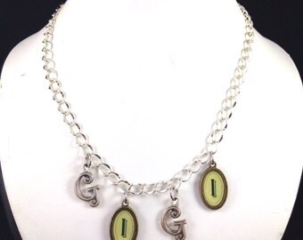 GIGI Necklace in Antique Silver and Antique Bronze Letters with SilverChain