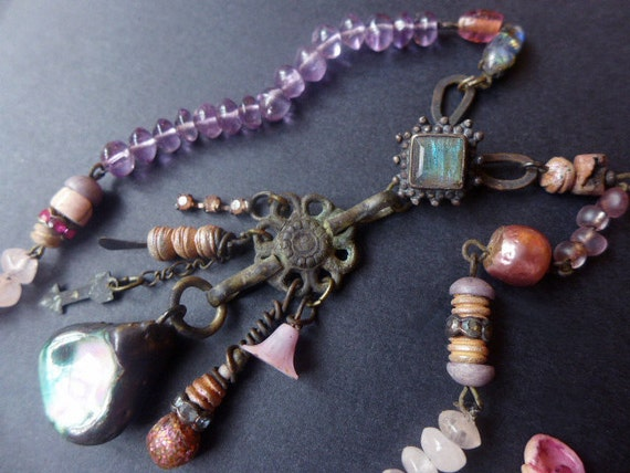 Circle of Compassion. Rustic assemblage choker with amethyst, rose quartz, labradorite and recycled elements.