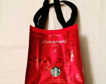Fun Eco Friendly Purse made with Recycled CHRISTMAS Coffee bags upcycled repurposed
