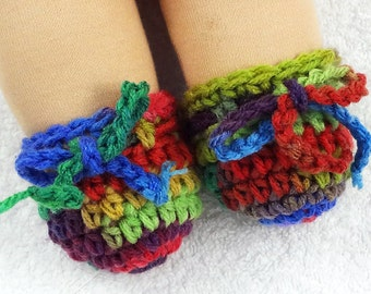 """Waldorf doll shoes primary colors tie up crocheted doll booties for bamboletta or waldorf doll with 6"""" round stump feet PICK STYLE and COLOR"""