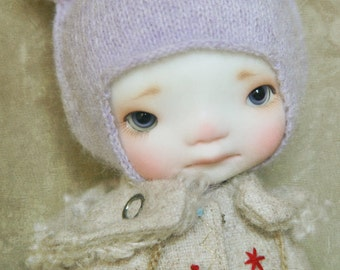 jiajiadoll - hand knitting - violet cat helmet hat fit  lati yellow pukifee irrealdoll middie blythe secretdoll Dorandoran