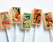Cosmic comic space girl edible art lollipops by Vintage Confections - 5 pc. - made to order