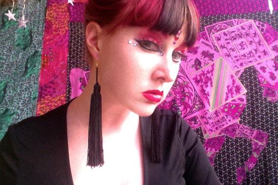 BLACK Tassel Earrings (Long)
