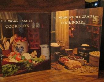 2--Vintage--IDEALS--Cookbooks--Family Cookbook--And--Whole Grain Cookbook--1970's