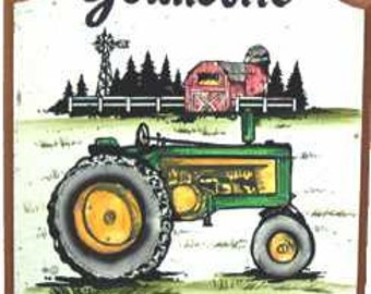 TRACTOR SIGN-Personalized Sign-Welcome-Address- Hand Painted-Hand Lettered- Weatherproof-Great Gift