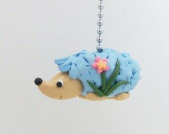 Hedgehog Fan Pull Chain - Blue - Woodland Nursery Decor - Children's Forest Decor - Polymer Clay