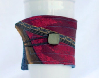 Coffee Cup Sleeve, Coffee Cup Cozy, cup cozy,  fabric, quilted: blue burgandy Silk