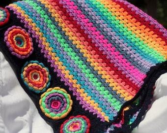 Afghan crochet rainbow flowers  blanket throw A1235