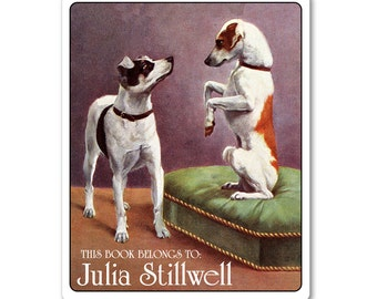 Frisky Fox Terriers Personalized Bookplates - DOG LOVER GIFT