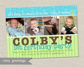 Dots and Stripes Birthday Party Invitation - first birthday party - photo birthday invite (Printable Digital File)