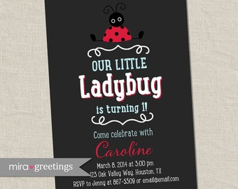 Ladybug Birthday Party Invitations - Lady Bug Birthday Party Invites - First baby birthday (Printable Digital File)