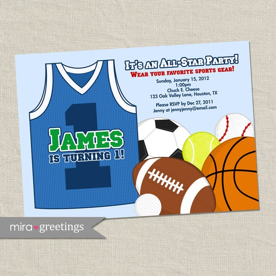 Sports Birthday Party Invitations - Baseball, Basketball, Football, Soccer, Tennis, Golf (Printable Digital File)