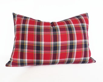 Man Cave Cushion, Red Blue Plaid Pillow, Red Tartan Pillow Cover, Birthday Gift for HIM, 14x20 Lumbar Pillow Cover, Country Home Decor, SALE