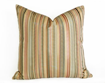 Pastel Striped Pillow, Cream Pink Green Pillow Covers, Sofa Cushion Covers, 12x18, Lumbar, Contemporary Accent Pillows, SALE