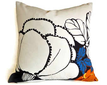 Large Flower Pillow Cover, Floral Silhouettes Pillows in Black Navy, Cobalt Blue, Orange on White, Spring Home Decor, 20x20