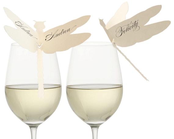 Dragonfly Place Cards - vineyard wedding, glass rim, elegant, whimsical, whimsy, quaint, natural, nature, woodland, spring, summer, wine