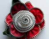 Multi colored Red Pink Hot Salmon Coral and White Floral Brooch / Zipper Pin by ZipPinning 2552