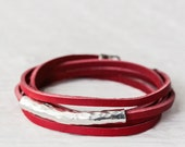Red Leather Wrap Bracelet in Karen Hill Tribe Silver with Bali Sterling Silver, Berry Cherry Bright Apple Red, Eco Friendly Unisex Bracelet
