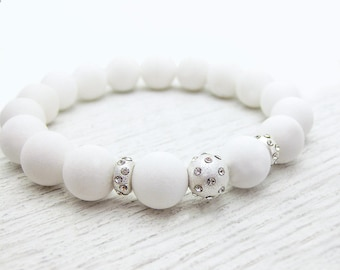 White Jade Rhinestone Bead Bracelet / pure snow white with sterling silver / cloud white dreamy stacking bracelet / on trend fashion