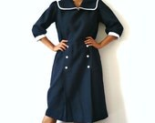 French Vintage Navy Sailor Midi Dress