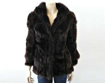 JEAN French Vintage 50s Dark Brown Fur Jacket/Coat