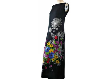 JULIE French Vintage Maxi Black Dress with Floral Motifs