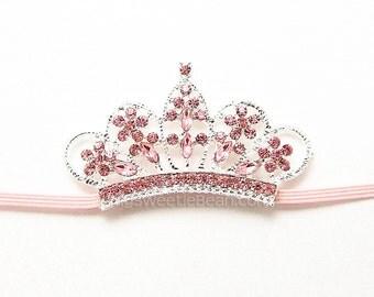Pink Tiara Headband,  Ready To Ship Baby Headband, Baby Tiara Photo Prop, Princess Headband, Pink Crown, Newborn Baby Toddler Girls Headband