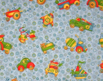 Childrens Blue Fabric, Cars and Trucks Boy's Patterned Fabric, Nursery and Baby Blue Cotton Fabric for sewing and crafts