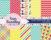 Movie Party Digital Paper Pack in Red Yellow & Turquoise Chevron Striped Polka Dotted Plaid and Bunting Patterns