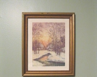 Vintage Winter Scene Framed Art / Art Print / Wall Hanging