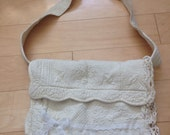 Upcycle Romantic off white Bag Lace Med. handmade 70s style