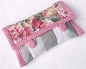 Quilted Camera Case - England England - Pink, Yellow and Beige Roses and Flowers with Green Leaves Fabric Case with Buttons