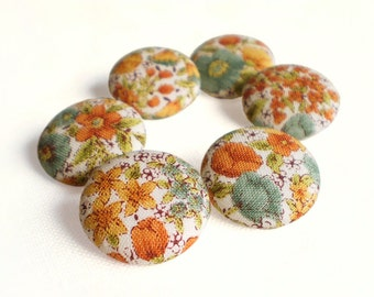 Fabric Buttons - Flowers Of Autumn - 6 Medium Orange, Yellow, Brown and Beige Floral Fabric Covered Buttons