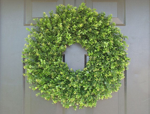 Faux THIN Artificial Boxwood Wreath, Storm Door Wreaths, Front Door Outdoor Wreath,  Ready to Ship, Door Decor, Sizes 14-24 inch available