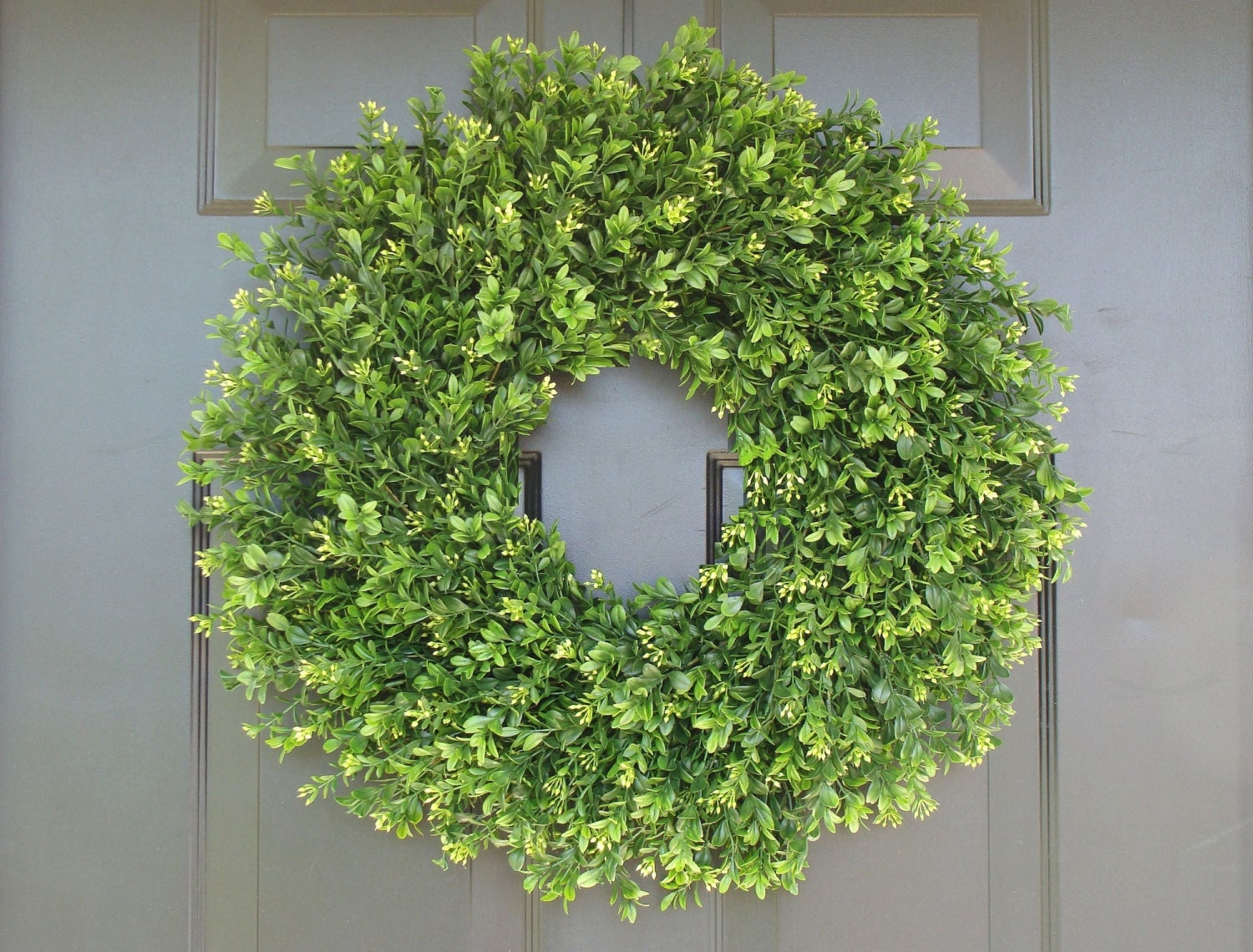 Faux THIN Artificial Boxwood Wreath Storm Door Wreaths Front