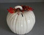 on sale  Ceramic all White pumpkin bank. Wedding savings bank, Thanksgiving decoration, Christmas gift  PB296